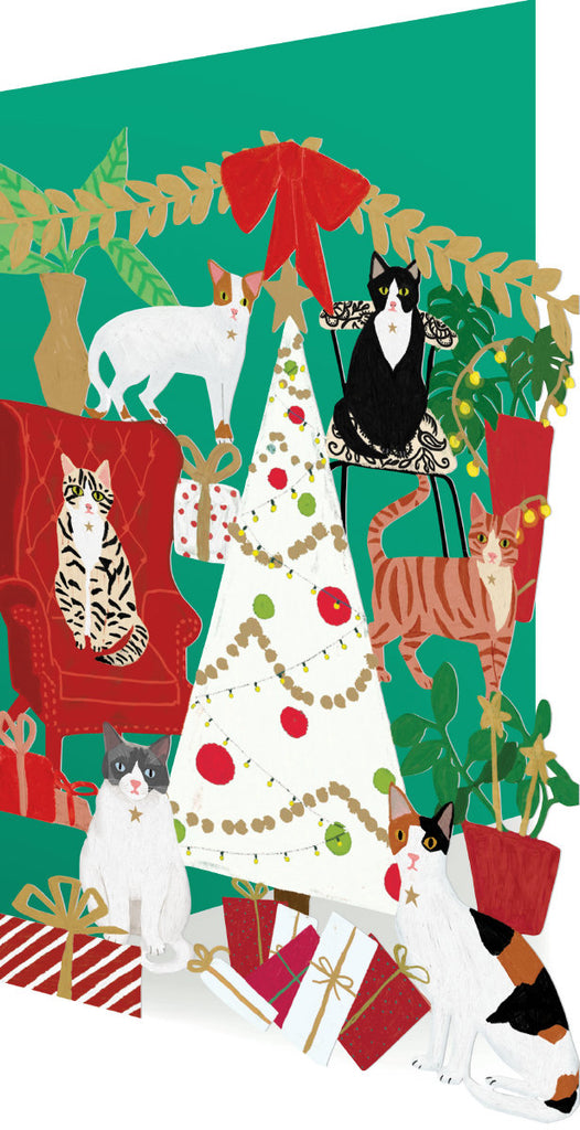 Roger la Borde Cat and Dog Palais Lasercut Card Christmas featuring artwork by Anne Bentley