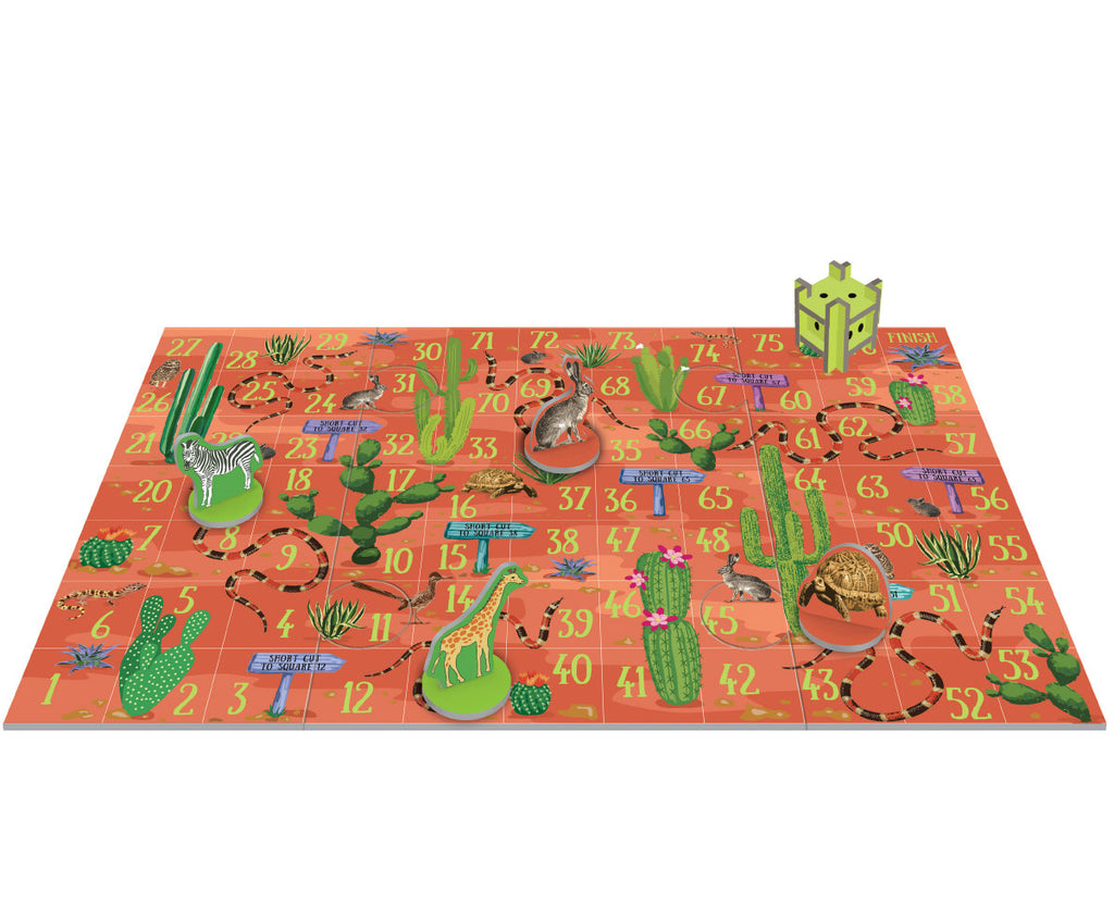 Roger la Borde Wild Animals Pop & Slot Snakes & Ladders Game featuring artwork by Roger la Borde