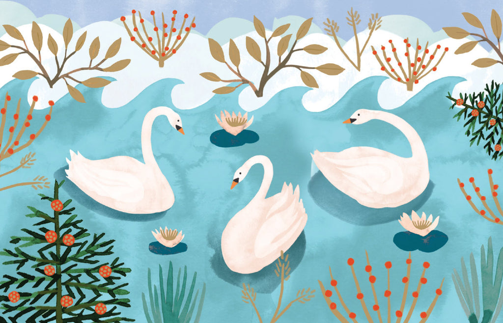 Roger la Borde Swans Notecard featuring artwork by Katie Vernon