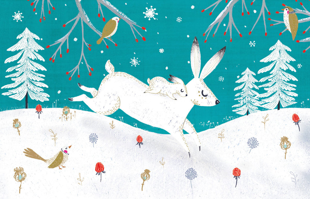 Roger la Borde Frosty Forest Notecard featuring artwork by Antoana Oreski