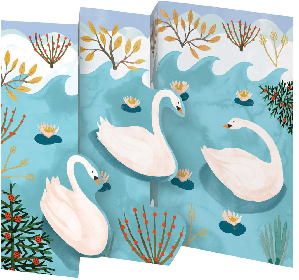 Roger la Borde Swans Trifold Notecard featuring artwork by Katie Vernon