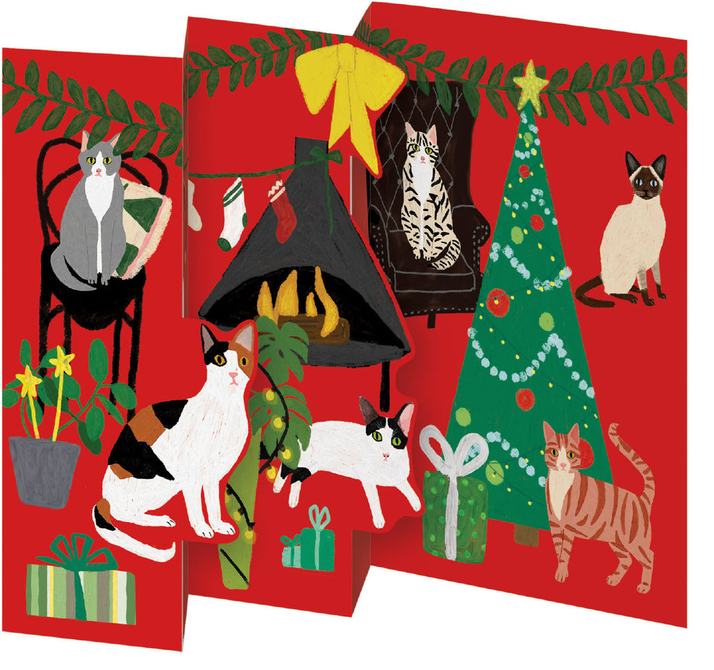 Roger la Borde Cat and Dog Palais Trifold Notecard featuring artwork by Anne Bentley