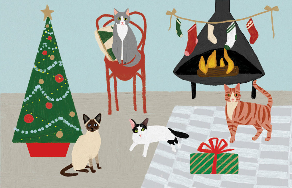 Roger la Borde Cat and Dog Palais Notecard featuring artwork by Anne Bentley