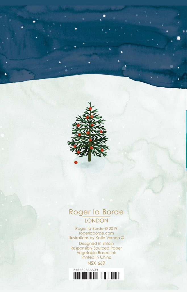 Roger la Borde Christmas Conifer Notecard featuring artwork by Katie Vernon