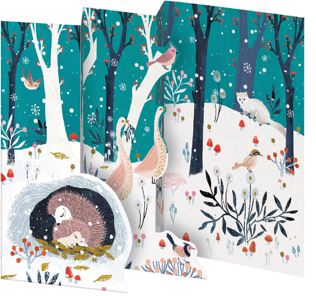 Roger la Borde Frosty Forest Trifold Notecard featuring artwork by Antoana Oreski