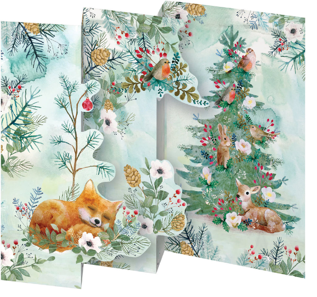 Roger la Borde Christmas Tree Trifold Notecard featuring artwork by Kendra Binney