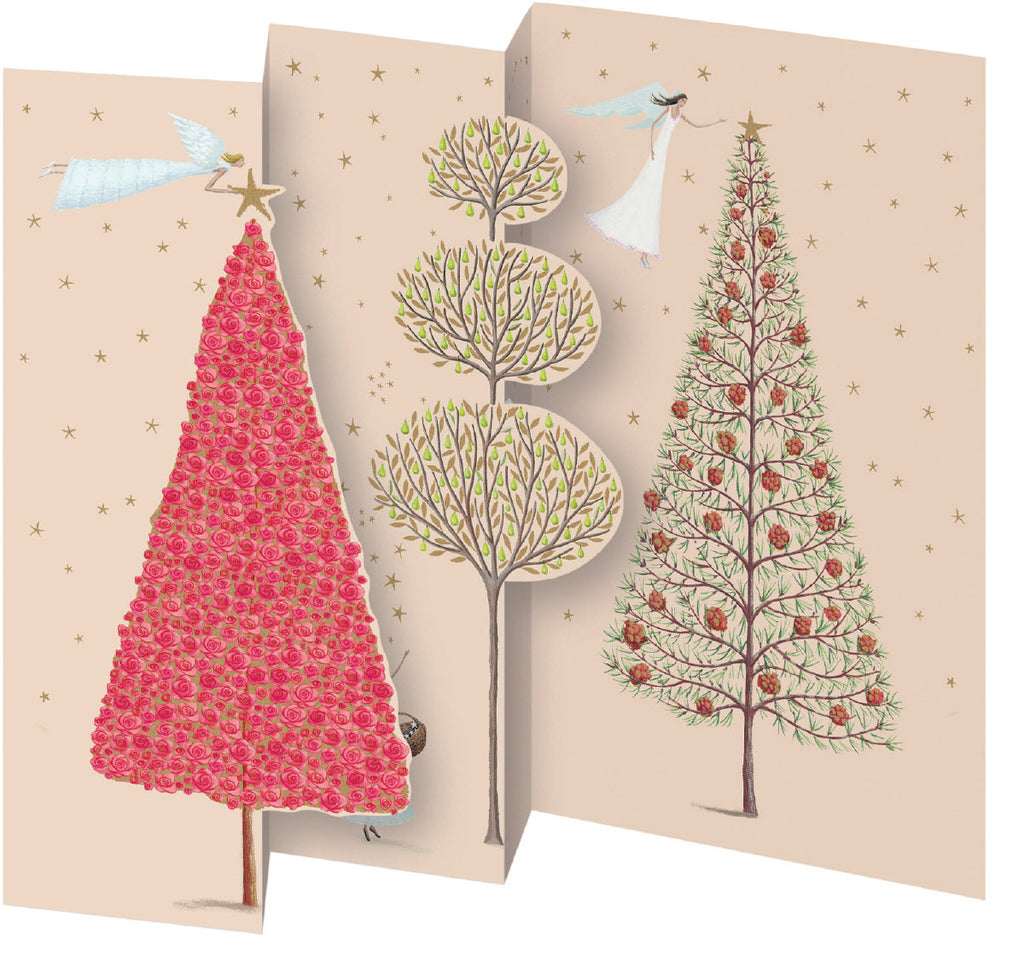 Roger la Borde Christmas Tree Trifold Notecard featuring artwork by Mary Claire Smith