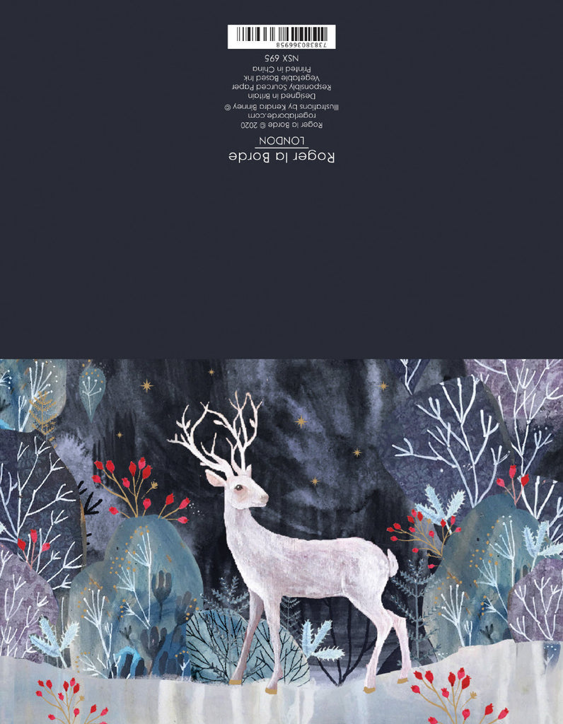 Roger la Borde Silver Stag Notecard featuring artwork by Kendra Binney