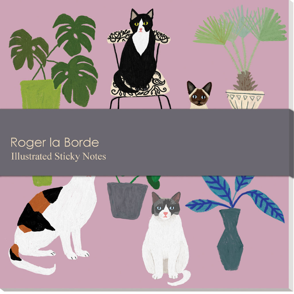Roger la Borde Cat and Dog Palais Sticky Notepad featuring artwork by Anne Bentley