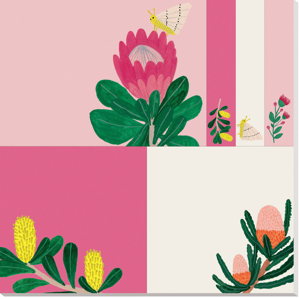 Roger la Borde King Protea Sticky Notepad featuring artwork by Kate Pugsley