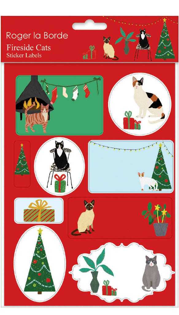 Roger la Borde Cat and Dog Palais Sticker Labels Sheet featuring artwork by Anne Bentley