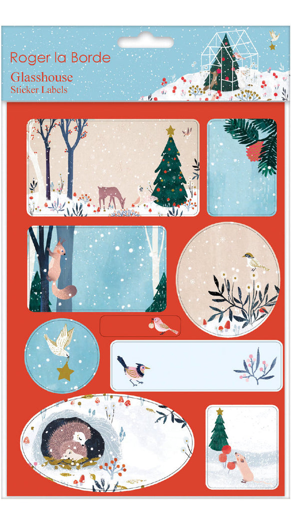 Roger la Borde Winter Garden Sticker Labels Sheet featuring artwork by Antoana Oreski