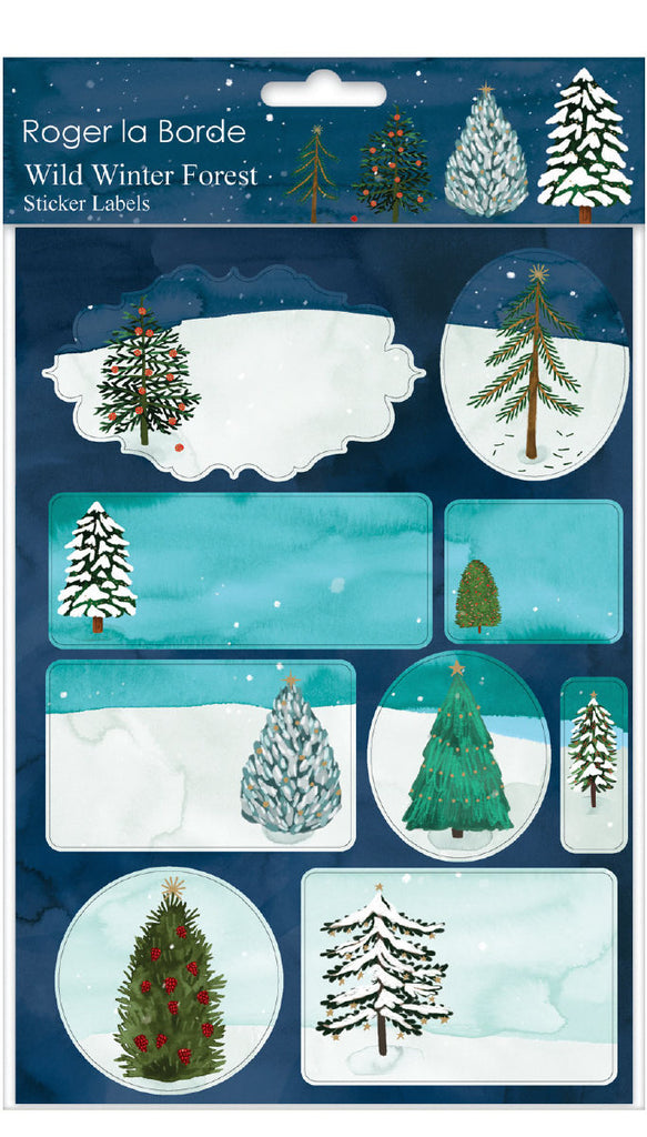 Roger la Borde Christmas Conifer Sticker Labels Sheet featuring artwork by Katie Vernon