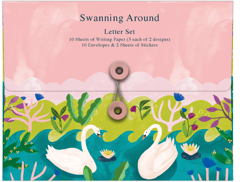 Roger la Borde Swans Writing Paper Set featuring artwork by Katie Vernon