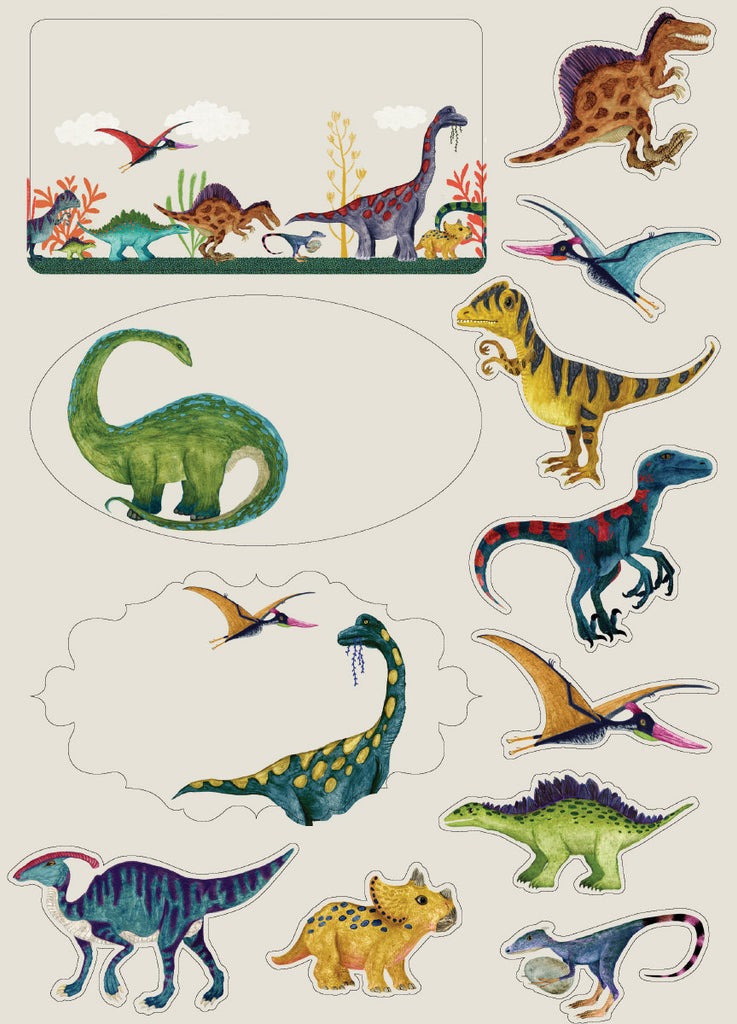 Roger la Borde Dino Mighty Writing Paper Set featuring artwork by Katherine Quinn