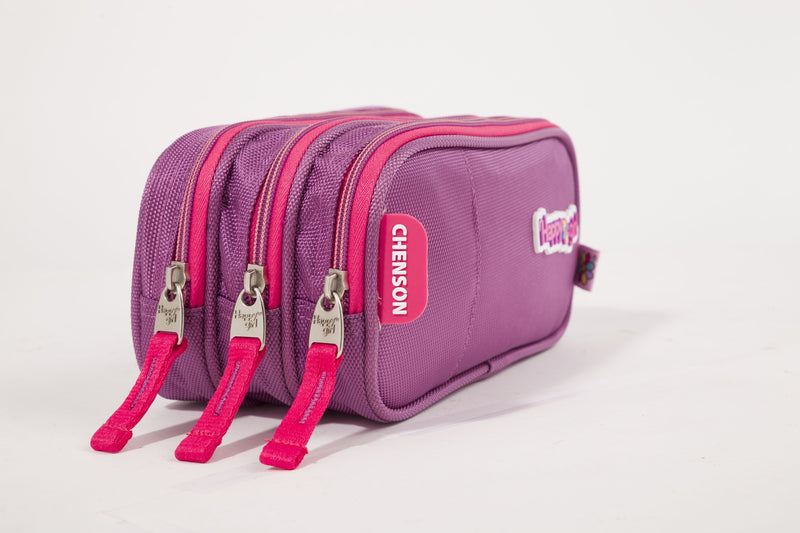 Estuche triple compartimento colors rosa