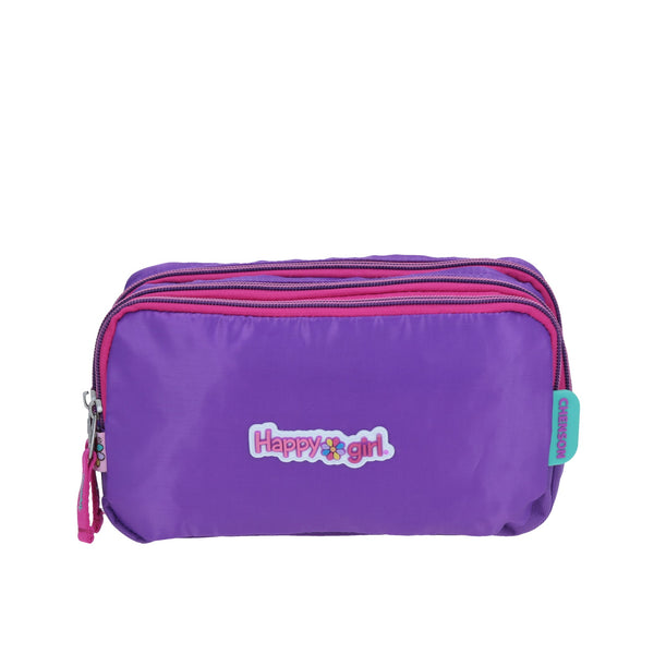 Estuche triple compartimento colors morado
