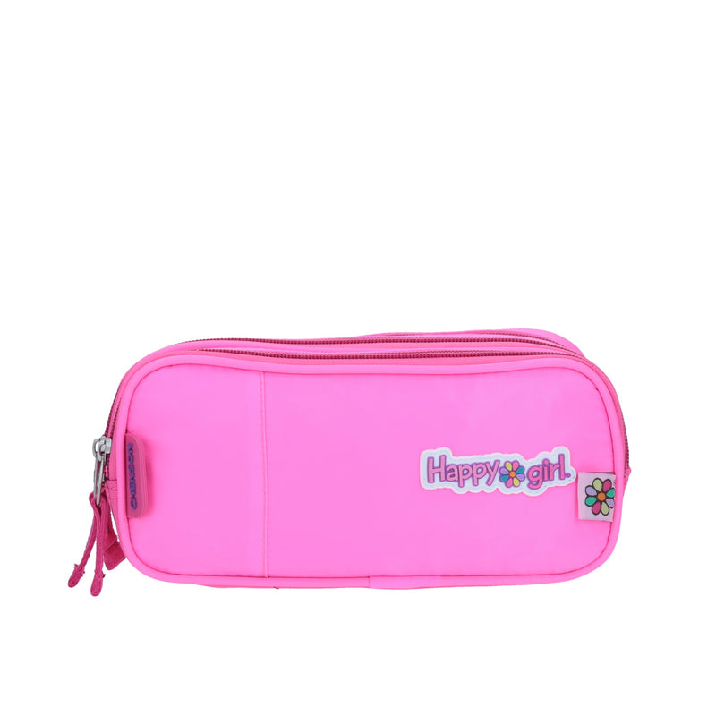 Estuche triple compartimento color rosa vibrante