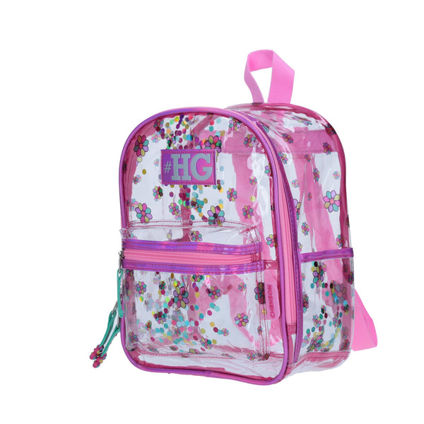 Mini-backpack flores transparente