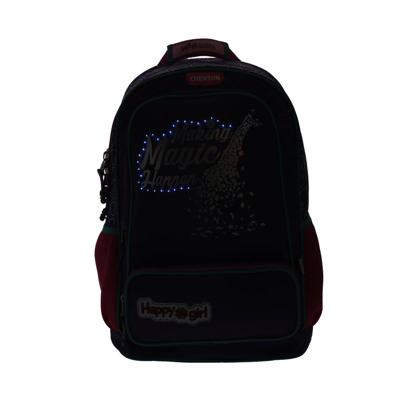 Mochila jirafa con luz led happy girl