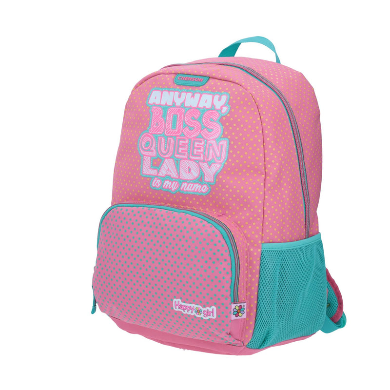 Mochila grande casual happy girl rosa