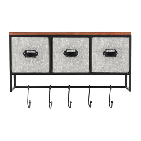 15 in. H x 22 in. W x 9 in. D StyleWell Wood, Black and Galvanized Metal Wall Organizer with 3 Cubbies and 5 Hooks