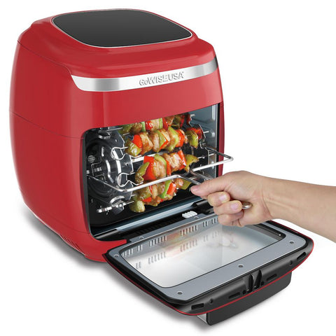 1700-Watt Red/Silver Multi Vibe Air Fryer Oven with Rotisserie and Dehydrator Functions