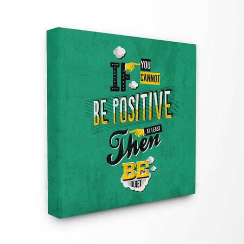 17 in. x 17in.  Abstract Be Positive Or Quiet Vintage Comic Book Green Word Design  by Ester Kay Canvas Wall Art