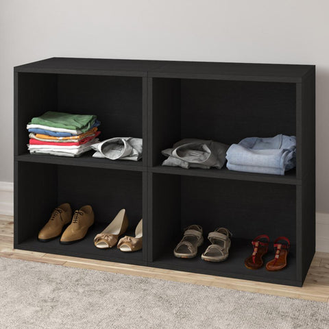 29.1 in. Black Faux Wood 2-shelf Standard Bookcase with Storage