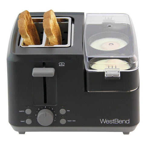 2-Slice Black Breakfast Station Egg Cooker Poacher and Wide Slot Toaster with Removable Crumb Tray