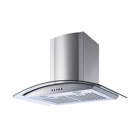 30 in. Convertible Wall Mount Range Hood in Stainless Steel/Glass with Baffle Filters