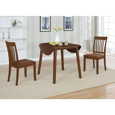 3-Piece Solid Oak Wood Dining Set with Brown Color Seats