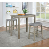 3-Piece Solid Wood Dining Set with Gray Color Seats