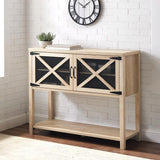 44 in. White Oak Mesh Door Industrial Buffet Sideboard