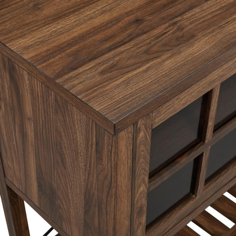 48 in. Dark Walnut Classic Glass Door Buffet Sideboard