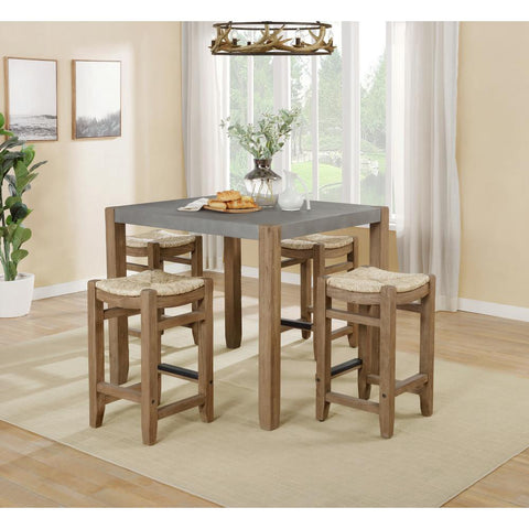 5-Piece Newport Light Amber with 36 in. Counter-Height Dining Table and Four 26 in. Stools Wood Dining Set