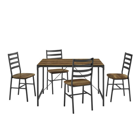 5-Piece Reclaimed Barnwood Industrial Angle Iron Dining Set