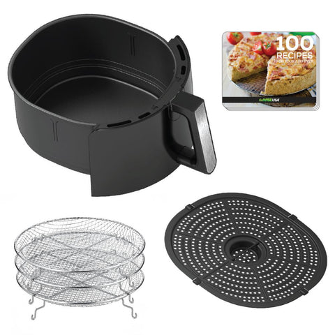 7 Qt. Black Air Fryer with Dehydrator and 3 Stackable Racks with 8 Functions