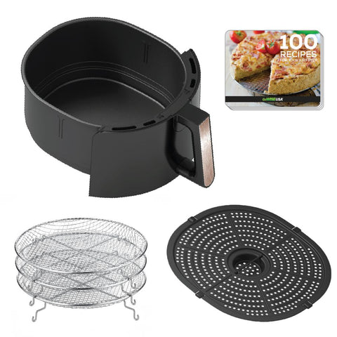 7 Qt. Black/Copper Air Fryer with Dehydrator and 3 Stackable Racks with 8 Functions