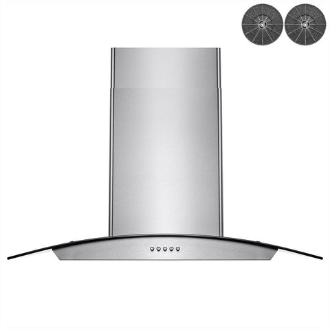 AKDY 30 in. 343 CFM Convertible Wall Mount Range Hood in Stainless Steel with LEDs, Push Control and Carbon Filters