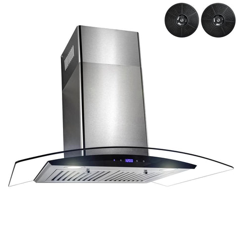AKDY 30 in. Convertible Kitchen Wall Mount Range Hood in Stainless Steel with Tempered Glass,Touch Control and Carbon Filters