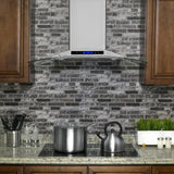 AKDY 30 in. Convertible Kitchen Wall Mount Range Hood in Stainless Steel with Tempered Glass and Touch Controls