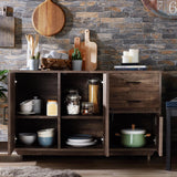 Antsirabe Reclaimed Oak Buffet Server with Adjustable Cabinet Shelves