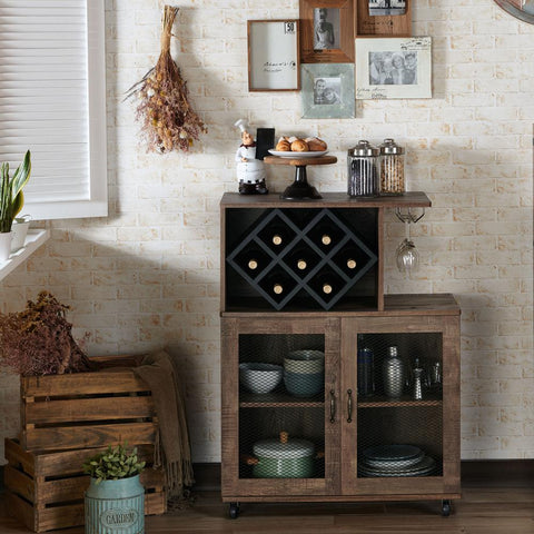 Ari Reclaimed Oak Mobile Mini Bar with Wine Rack