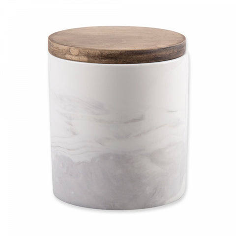 Artisanal Kitchen Supply Coupe Marbleized 20 oz. Canister with Wood Lid in Grey