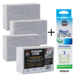 BETTER GRILLIN' Scrubbin Stone Grill Cleaning Block with Bonus Compac Home Magic Stone Porcelain Stone (4-Pack)