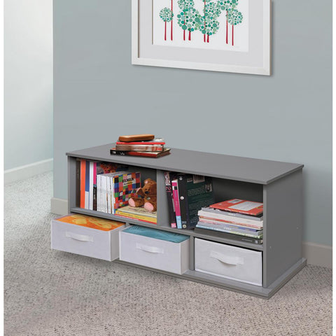 Badger Basket 37 in. W x 17 in. H x 16 in. D Gray Stackable Shelf Storage Cubbies with 3-Baskets