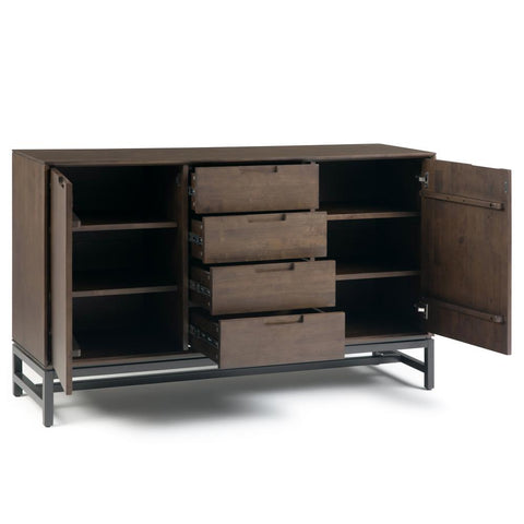 Banting Solid Hardwood and Metal 60 in. Wide Modern Industrial Sideboard with Centre Drawers in Walnut Brown