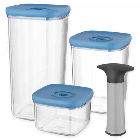 BergHOFF Leo 4-Piece Vacuum Food Storage Containers with Lids Set in Blue