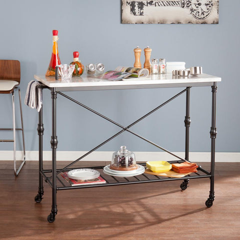 Black Serving Cart With Faux Marble Top